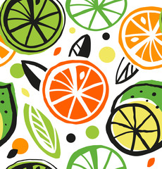 Decorative drawing seamless pattern with citrus fruit.