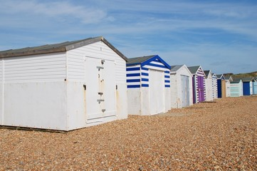 British beach huts at Glyne Gap near Hastings