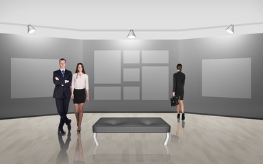 Business people walking on gallery art