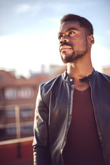 Good looking young black man in trendy clothes