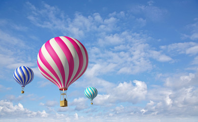 3d balloons in the blue sky