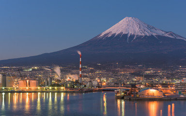 Night View of Mountain Fuji and Industry Zone Cityscape
