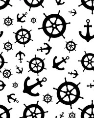 Seamless pattern with black silhouettes of rudder and anchor