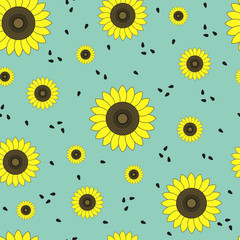 Sunflowers_Seamless vector pattern