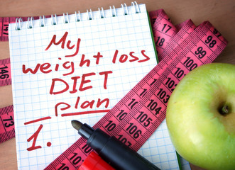 Notepad with weight loss diet plan