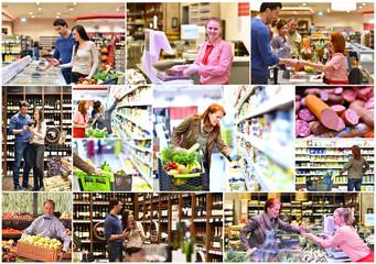 einkaufen im supermarkt; Collage mit vers. Situationen