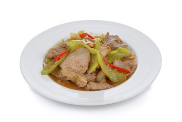 Spicy fried pork with chilli
