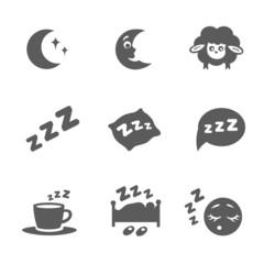 Vector isolated sleep icons set
