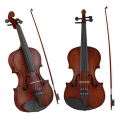 Violin isolated. Two angles of view