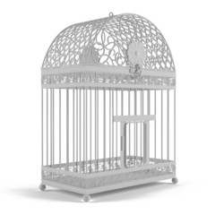 Vintage bird cage isolated