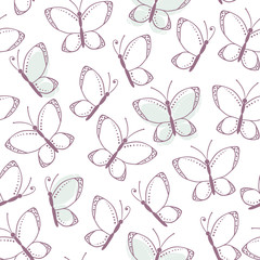 Outline seamless pattern with butterflies
