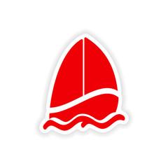 icon sticker realistic design on paper sailing boat