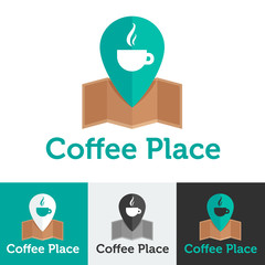 Vector flat coffee shop or cafe logo set
