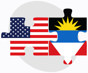 USA and Antigua and Barbuda Flags in puzzle