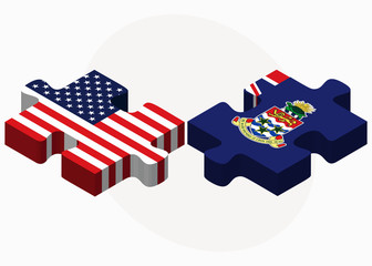 USA and Cayman Islands Flags in puzzle