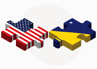 USA and Tokelau Flags in puzzle