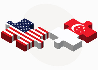 USA and Singapore Flags in puzzle