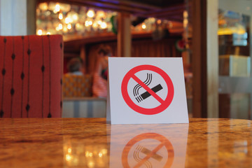 "Plate ""no smoking"", table in cafe"