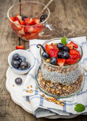 Chia seed pudding made with blueberries,  strawberries