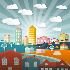 Vector Landscape Town or City