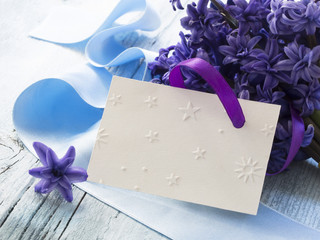 blank greeting card with flowers