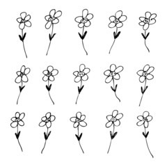 Fotobehang Abstractie Art Hand drawn pen and ink style illustration of flowers