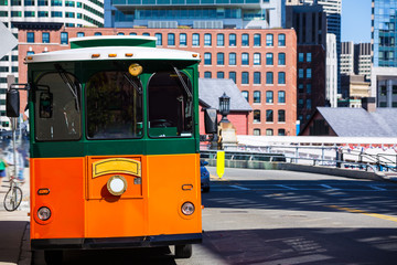 Wall Mural - Boston trolley at Congress Street bridge