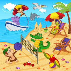 animals resting on beach - vector illustration, eps