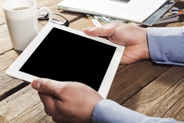 Mockup. Digital tablet computer with isolated screen in female