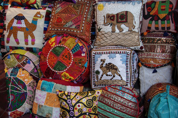 Composition of patchwork pillows