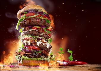 delicious big hamburger on wood Wall mural