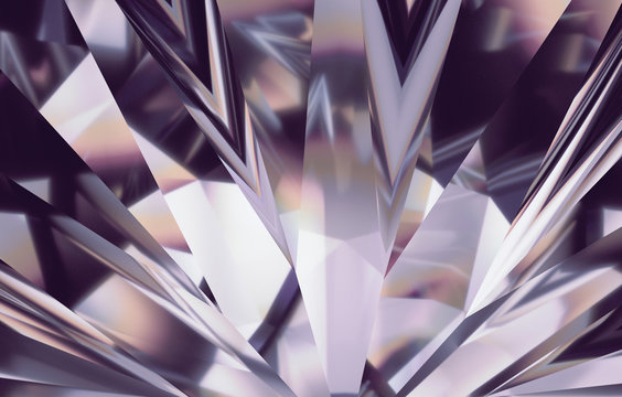 3d abstract amethyst silver crystal background, faceted glass
