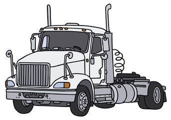 Hand drawing of a white american truck
