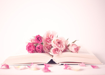 Vintage pink peonies over book over beige background
