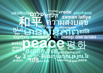 peace multilanguage wordcloud background concept glowing
