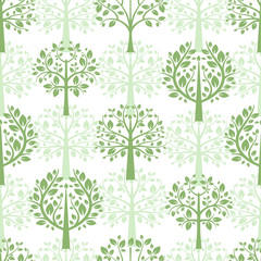 Green trees seamless pattern background