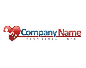 silhouette person presentation love heart rate logo icon vector