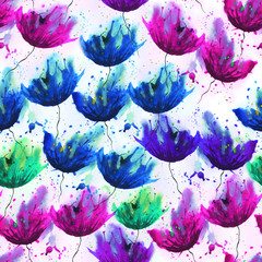 Watercolor pattern of different flowers