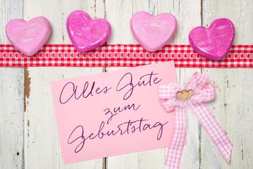 Rosa Karte mit der Aufschrift Alles Gute zum Geburtstag