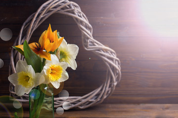 Background with fresh tulips, narcissus and  decorative heart