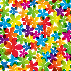 Seamless pattern with bright flowers