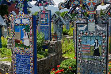 Photo sur Aluminium Cimetiere The merry cemetery of Sapanta, Maramures.