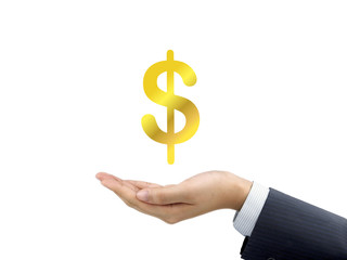 money icon holding by businessman's hand
