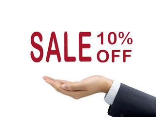 sale 10 percent off holding by businessman's hand