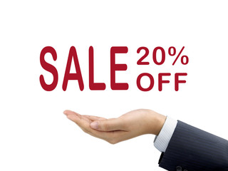 sale 20 percent off holding by businessman's hand