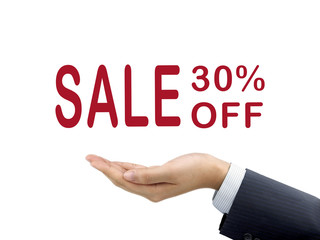 sale 30 percent off holding by businessman's hand