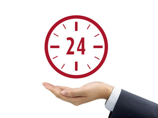 24 hours service icon holding by businessman's hand