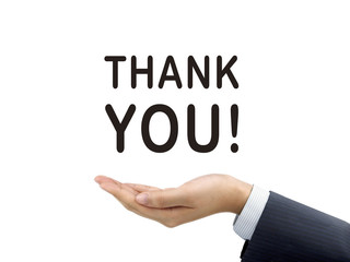 thank you words holding by businessman's hand