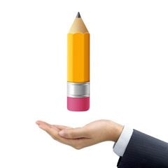 businessman's hand holding a lovely pencil