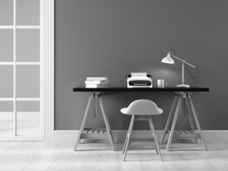 Bblack and white interior with typewriter 3D rendering
